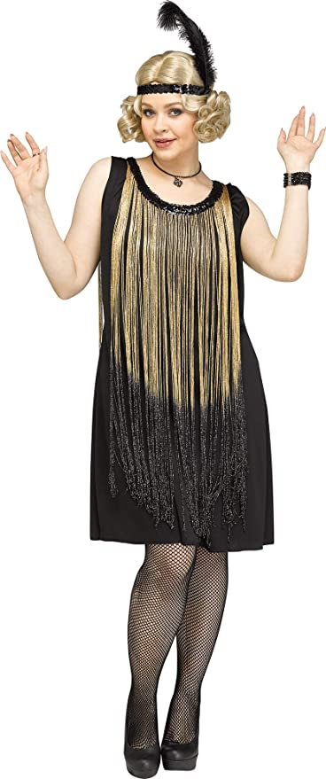 1920s Costumes: Flapper, Great Gatsby, Gangster Girl Fun World Womens Plus Size Flirty Flapper Gold Costume 2X Size 22W-24W  AT vintagedancer.com