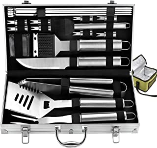 Bonus Cooler Bag - 20pc Stainless Steel BBQ Grill Tool Set for Men with Gift Box Package by ROMANTICIST - Complete Outdoor...