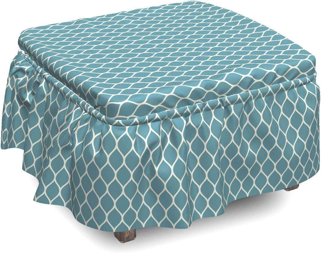 Ambesonne Blue and White Ottoman Cover Lines Charlotte mart Mall 2 Tile Piece Wavy