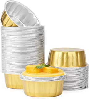 Disposable Aluminum Foil Cups, Beasea 8 oz 100 Pack Bake Utility Ramekin Cup Souffle Cup Muffin Cupcake Baking Cup Mini Pudding Cups for Party Wedding Birthday - Gold