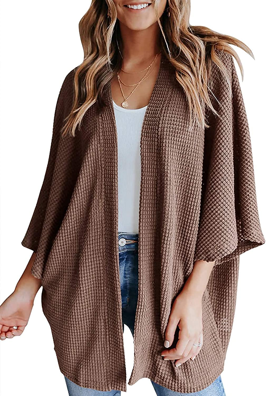 Women's Lightweight Open Front Waffle Knit Cardigan 3/4 Batwing Sleeve Sweaters Summer Kimono Beach Cover Up
