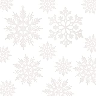 Best 36pcs White Snowflake Ornaments - Plastic Glitter Snowflake Ornaments for Christmas Tree Decorations Size Varies Review