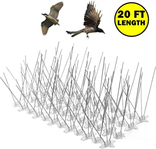 Bird Spikes for Small Birds Pigeons Cats,Covers 20 Feet Lenght/5 Inches Wide,30 Spikes Per Feet,Flexible UV-Proof Polycarbonate Base,Modular Pack to Cover Defferent Areas