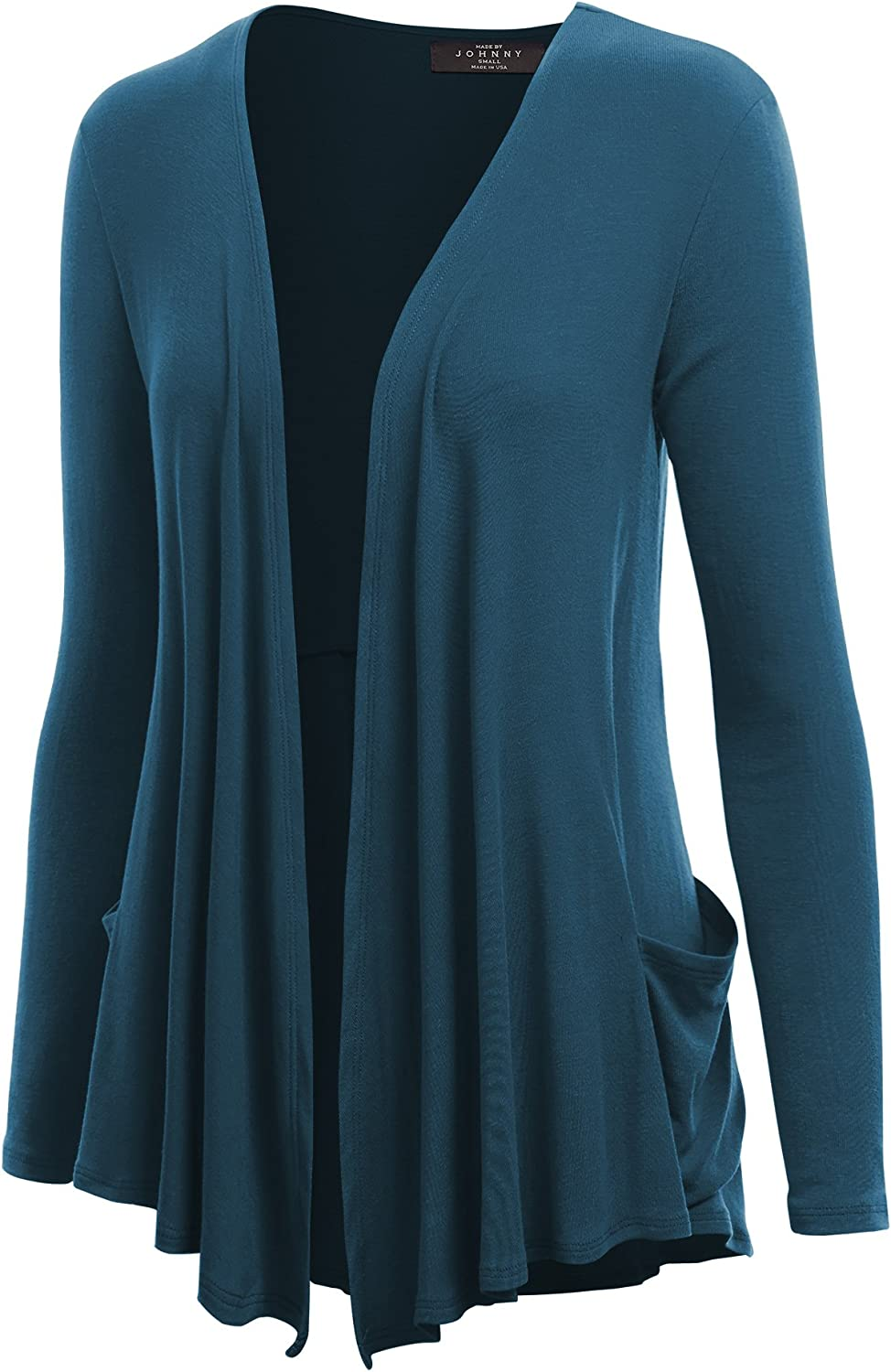 MBJ Womens Solid Long Sleeve Draped Pocket Cardigan with Back Shirring Details
