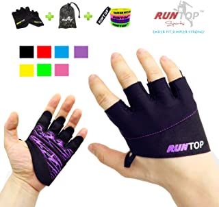 RUNTOP Workout Gloves Weight Lifting Grips with Silicon Padding Exercise Gloves Perfect for Women Men Crossfit Training WODS Weightlifting Bodybuilding Powerlifting Gym Fitness