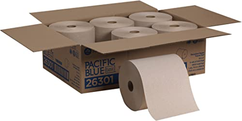 Pacific Blue Basic Recycled Hardwound Paper Towel Rolls by GP PRO (Georgia-Pacific), Brown, 26301, 800 Feet Per Roll,...