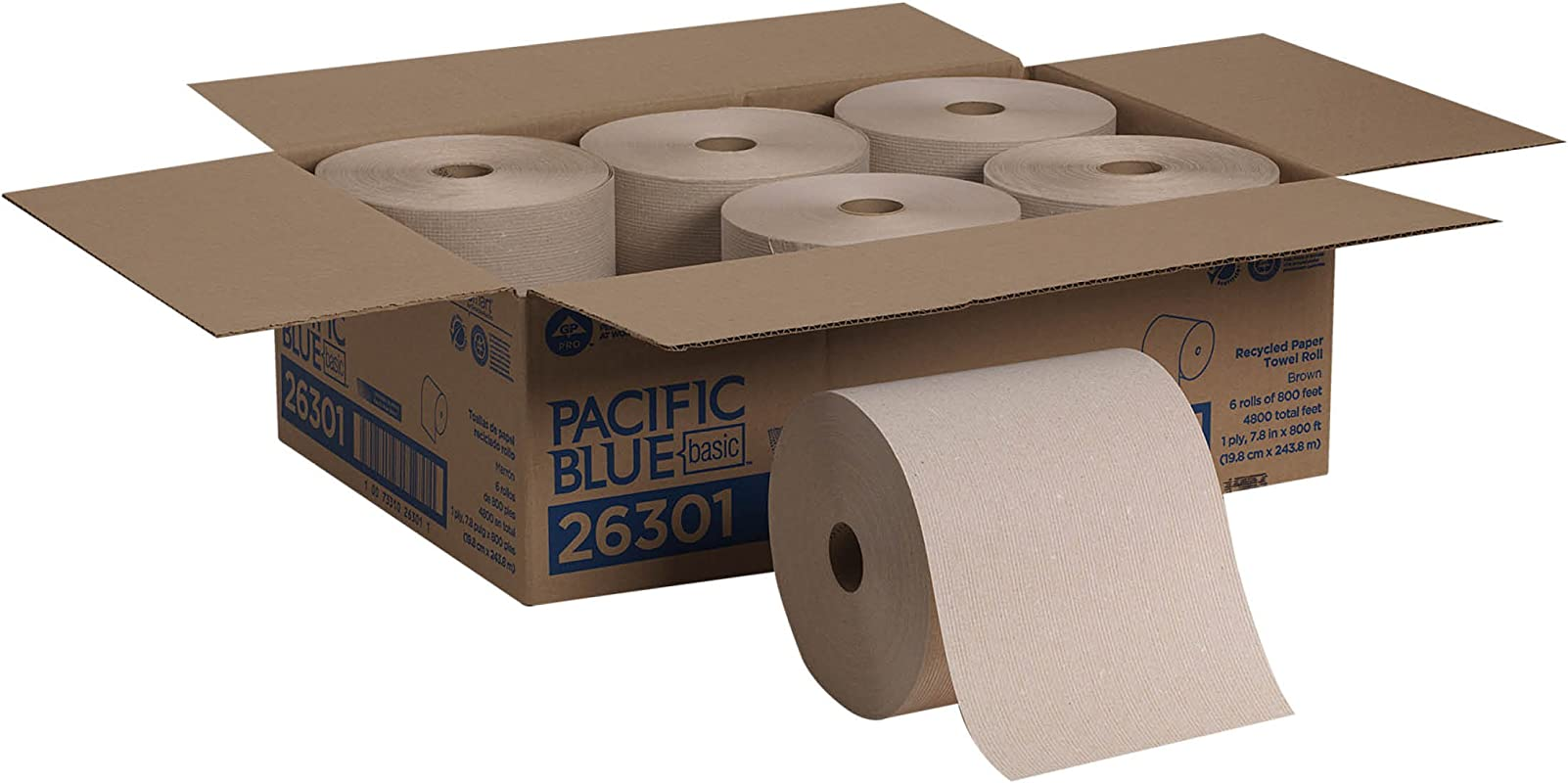 Pacific Blue Basic Recycled Hardwound Paper Towel Rolls By GP PRO Georgia Pacific Brown 26301 800 Feet Per Roll 6 Rolls Per Case