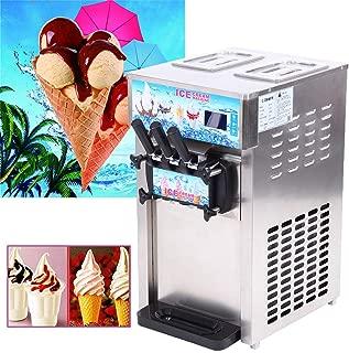 Ridgeyard Ice Cream Maker 1200W Silver Soft Ice Cream Machine with 3 Flavors Food Grade Stainless Steel Desktop Dessert Maker for Restaurants, Cafes, Snack Shops, Fast food shops, Supermarkets