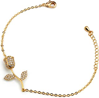 JURI Luxury Women's Bracelets Crystal Rose Bracelet Gold