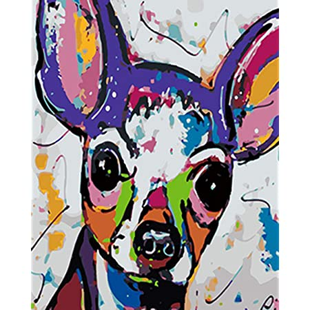 Dog Animal Canvas Picture Oil DIY Paint Set by Number Kits for Adults Decoration
