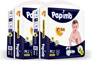 Papimo Bbay Diaper Pants with Aloe Vera, Monthly Box Pack, M (152 Count)