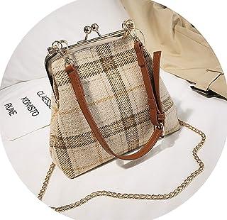 New Wool Plaid Shell Shoulder Bags Harajuku Style Clip Women Crossbody Bag  Fashion Chain Ladies Handbags 99221a55f5857