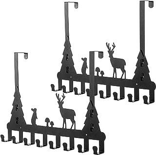 Umi. by Amazon - Set de 2 colgadores para puerta, percheros de puerta para abrigos, ropa, bolsos, sombreros, etc., negro