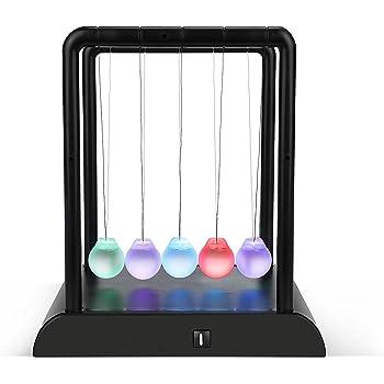Scigeek ニュートンのゆりかご バランスボール 科学インテリア カチカチ玉 LEDライト付