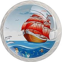 Lade Handgrepen Trek Ronde Kristal Glas Kabinet Knoppen Keuken Kabinet Handvat, zeil Boot rood Zeilen Onder Water Wereld D...