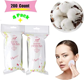 Premium Cotton Rounds for Face (4 Packs of 50, Total of 200 Count) | Makeup/Nail Polish Remover Pads, Hypoallergenic Makeu...