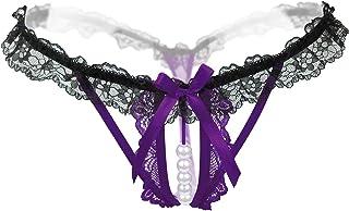 black & purple Lingerie Pearl Underwear Lace Open Crotch Thong