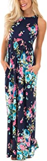 Women's Floral Print Sleeveless Long Maxi Casual Dress