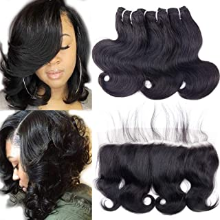 """10A Human Hair Bundles with Lace Frontal Body Wave Bundles with Frontal (50g/pc 10"""" 10"""" 10""""+10"""", Natural Black) Short Peruvian Body Wave Hair Ear to Ear 13x4 Frontal Closure with 3 Bundles"""