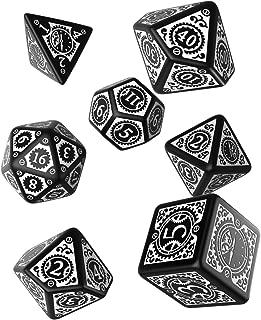 Q WORKSHOP Steampunk Clockwork Black & White Dice Set (7) Board Games
