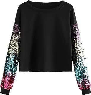 Women's Casual Rainbow Contrast Colorblock Sequin Crop Pullover Sweatshirt Tops