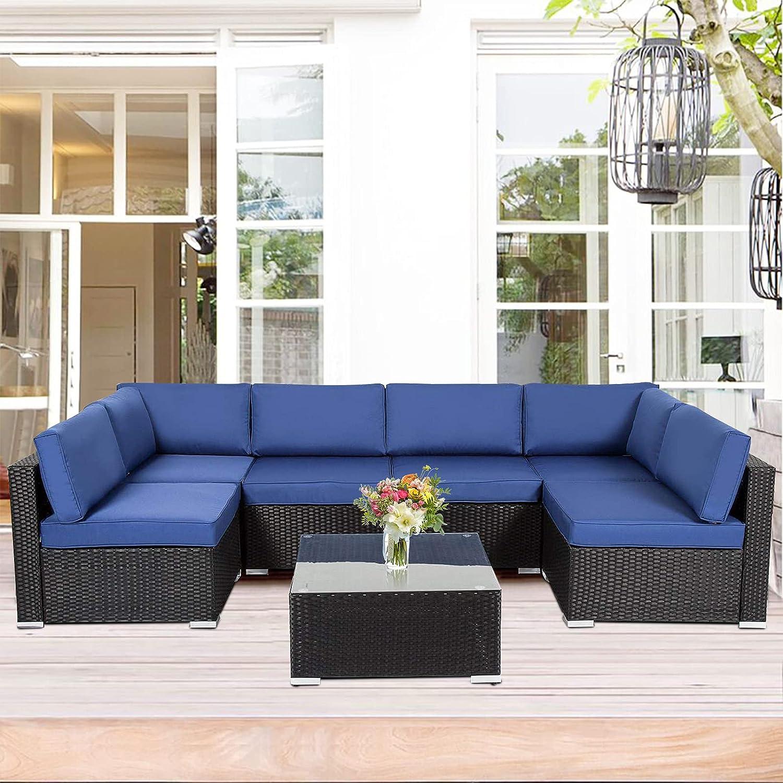 Kinsunny 7 PCs Patio Furniture Sets Mail order Wicker Ranking TOP4 PE Outdoor Rattan So