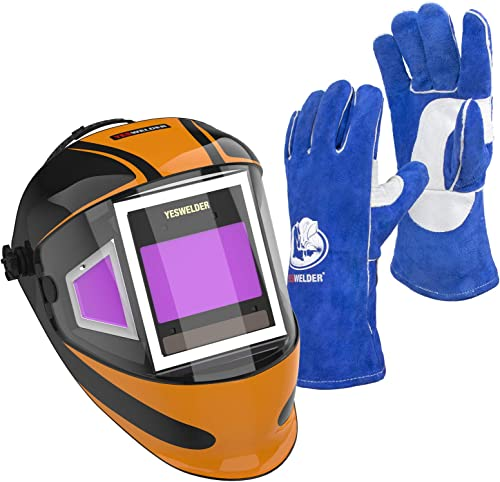 discount YESWELDER Panoramic 180 View sale Auto Darkening Welding Helmet with Side View & Leather popular Forge MIG Welding Gloves online sale