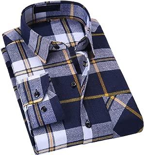 Men's Dress Long Sleeve Buffalo Plaid Gingham Flannel Shirts