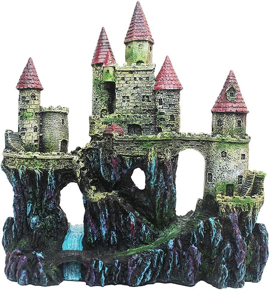 NIVC Ornamenti per acquari del Castello in Resina Acquario Decorazione del Castello in Resina Serbatoio di Pesce Driftwood Castle Cave Hideouts Acquario per la casa Accessori paesaggistici