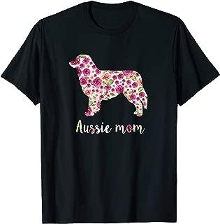 Cute Australian shepherd Aussie Mom Roses Flower Shirt T-Shirt