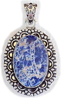 Sodalite Pendant, Silver Plated Brass Pendant, Handmade Pendant, Gift Jewelry, Women Jewellry, Fashion Jewellry, BRS-12367