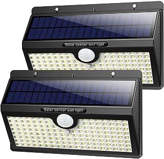 Luz Solar Exterior, [2019 Super Brillante 138 LED - 1400 Lumens] iPosible Gran Ángulo 180 ° de Iluminación Foco Solar con Sensor de Movimiento Impermeable Lámpara Solar 3 Modos para Jardín 2-Paquete