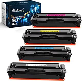 Valuetoner Compatible Toner Cartridge Replacement for HP 202X 202A CF500X CF500A High Yield to use with Laserjet Pro MFP M281fdw M254dw M281cdw Printer (1 Black, 1 Cyan, 1 Magenta, 1 Yellow, 4-Pack)