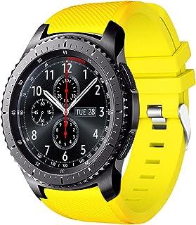 AMERTEER Correa de reloj Gear S3 Frontier / Classic Correas de silicona suave para Samsung Gear S3 Frontier / S3 Classic / Moto 360 2nd Gen 46 mm Smart  NOT FIT S2 y S2 Classic y Fit2