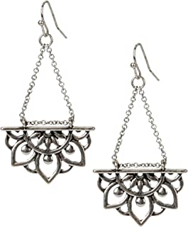 New Beginnings Lotus Flower Antique Silver or Gold and Patina Boho Chic Tribal Ethnic Fishhook Dangle Earrings for Women and Girls Gift
