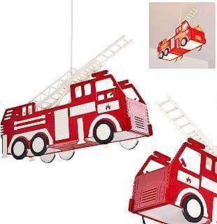 Lámpara colgante para niños Praya coche bomberos de plástico rojo, 2 x E27 max 13 vatios, ideal para sala de juegos y habitación de los adolescentes
