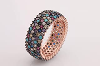 Special Design 5 Lines Multistone Turkish Handmade Jewelry Amethyst Pink Ruby Turquoise Sapphire Citrine Topaz Stone 925 Sterling Silver Band Ring All Size