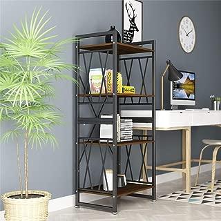 DEWEL 4-Shelf Bookshelf Vintage Industrial Rustic Bookshelf Rack Metal and Wood Bookcase 55'' High Tall Bookcase Furniture Standing Storage Shelf Units for Home Office