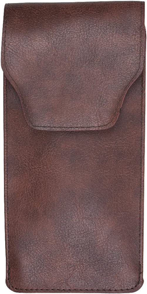 Slip In Glasses Case – PU Leather Pouch with Pocket Clip – Brown - By OptiPlix