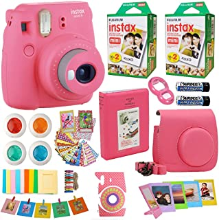 Fujifilm Instax Mini 9 Instant Camera Flamingo Pink + Fuji Instax Film Twin Pack (20PK) +Pink Camera Case + Frames + Photo Album + 4 Color Filters More Top Accessories Bundle