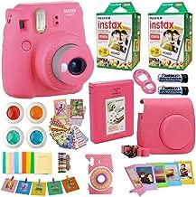 Fujifilm Instax Mini 9 Instant Camera Flamingo Pink + Fuji Instax Film Twin Pack (20PK) +Pink Camera Case + Frames + Photo Album + 4 Color Filters More Top Accessories Bundle