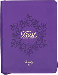 Trust in The Lord, Proverbs 3:5, Purple Large Faux Leather Zippered Daily Planner for 2020