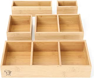 RISU Bamboo Junk Drawer Organizer: Storage Boxes for Tidying Up Junk - Multi-Sized Set of 5, Sturdy and Sustainable, Perfe...