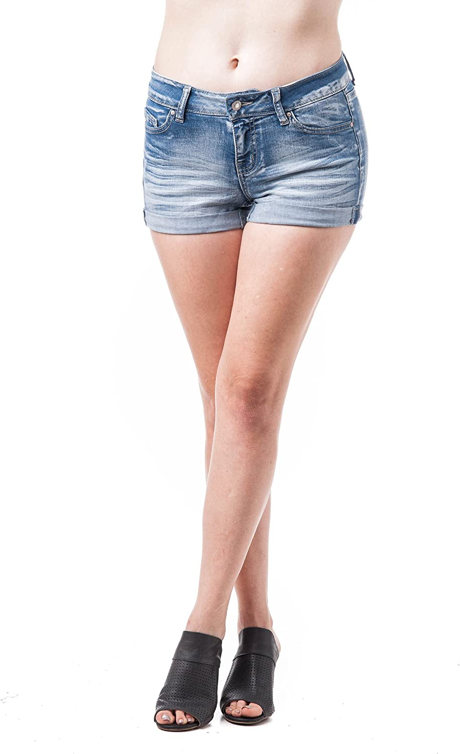 Khanomak Acid Wash Denim Cuffed Plain Short Shorts