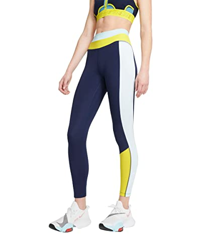 Nike One Color-Block 7/8 Tights (Midnight Navy/Glacier Blue/White) Women