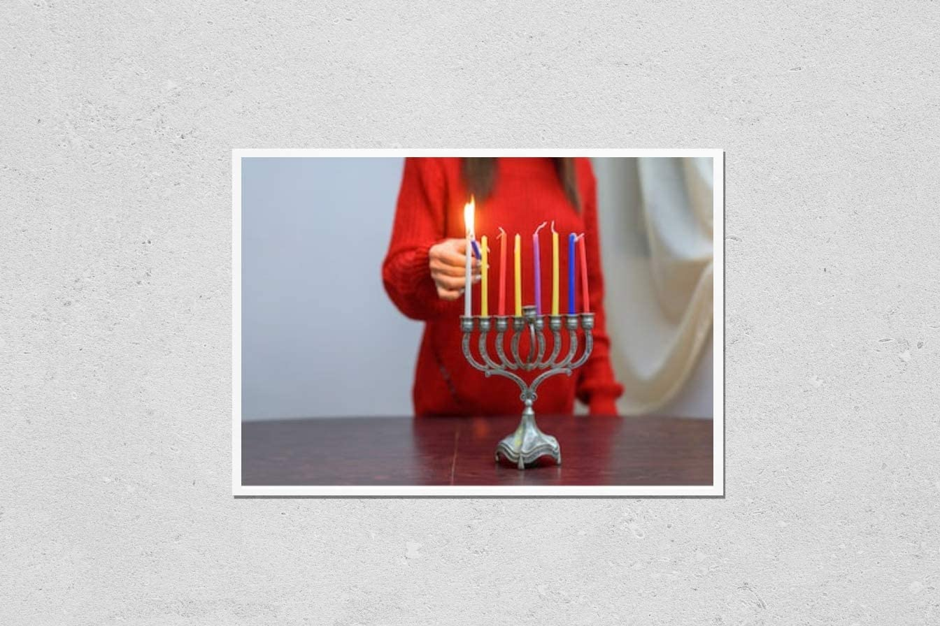 Poster Reproduction of Jewish Woman Clearance SALE! Limited time! Hanukkah Import lighting Candles in