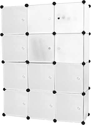 Bricok Armoire modulaire, Armoire à Chaussures, Armoire modulaire carrée, 112 x 148 x 37 cm, modulaire 12 Compartiments, Blanc