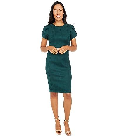 Calvin Klein Tulip Sleeve Scuba Suede Sheath Dress (Malachite) Women