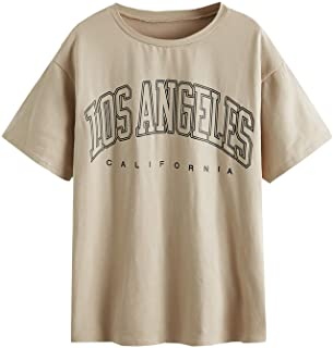 Women's Casual Letter Print Tee Half Sleeve Loose T Shirt...