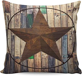 Square Throw Pillow Case Cotton Linen Pillow Cover Decorative Western Texas Star Cushion Covers for Home Couch/Bed/Sofa/Car/Cafe/Movie Theater Two Sides 16x16in